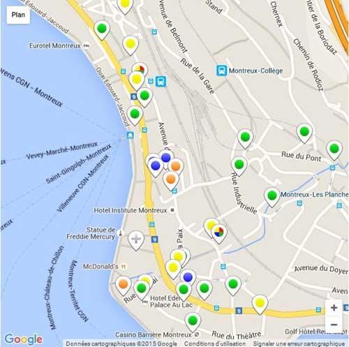 Carte des restaurants de Montreux et environs